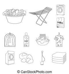 bitmap, nettoyage, illustration., ensemble, repassage, toile, lavage, stockage, équipement, sec, contour, collection, vêtements, symbole, icônes, design.