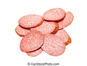 Bits of summer sausage isolated on white.