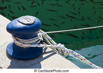 A blue bitt with fastened ropes and scurrying fishes in the background.