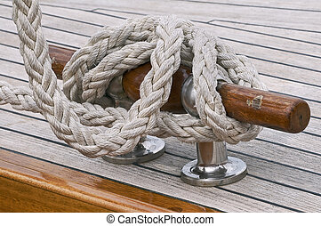 Rope tied up on a bitt