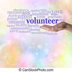 bitte, freiwilliger, hintergrund, bokeh