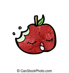 bitten apple cartoon