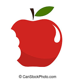 Bitten apple - Red bitten apple over white. Vector ...