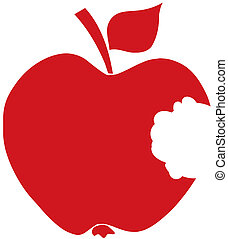 Bitten Apple Red Silhouette - Red Apple With A Missing Bite...