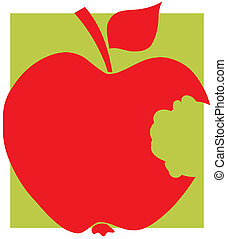 Bitten Apple Red Silhouette