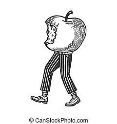 Bitten apple walks on its feet engraving vector...
