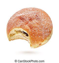 Bitten berliner pfannkuchen or donut isolated on white - ...