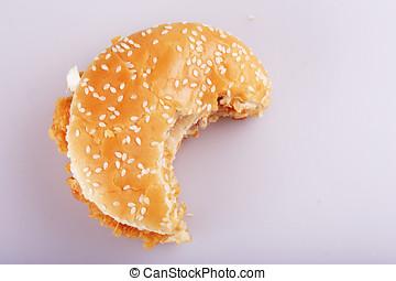 Bitten burger close up