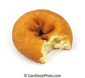 A single bitten cake donut on a white background.
