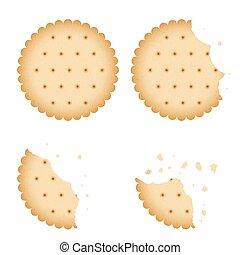 Bitten chip biscuit cookie, cracker vector set