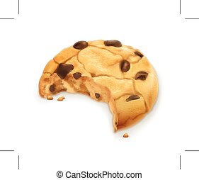 Bitten cookie with chocolate, isolated on white background
