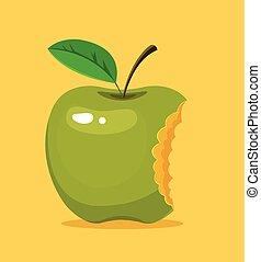 Bitten green apple