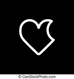 Bitten Heart vector icon. Black and white love illustration. Outline linear icon of heart.