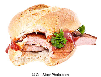 Bitten off meat loaf roll isolated on white