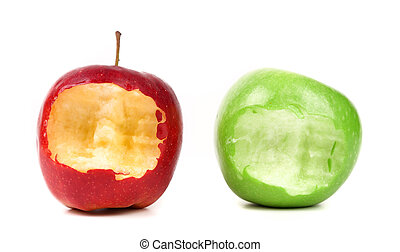 bitten red and green apples on a white background