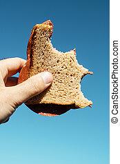bitten vegan salami sandwich in the hand