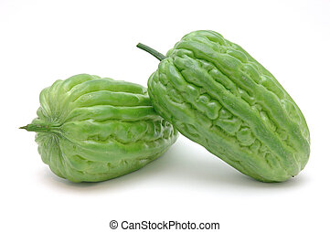 Bitter melons in isolated white background