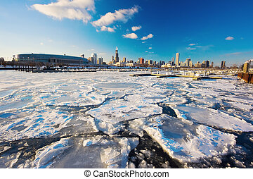 Bitter winter in Chicago - Bitter winter in the center of...