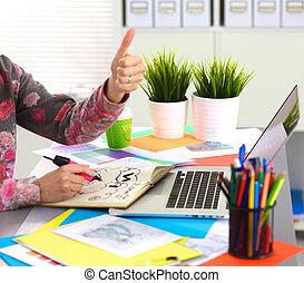 biurko, biuro, jego, digitizer, używając, projektant, pracujący