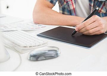 biurko, digitizer, projektant, używając