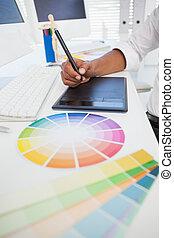 biurko, digitizer, używając, pracujący, projektant