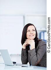 biurko, kobieta, zadumany, jej, posiedzenie