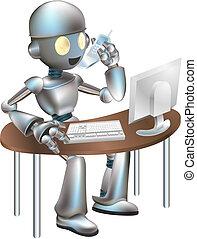 biurko, robot, ilustracja, posiedzenie