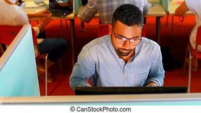 biurko, używając, wykonawca, pc, 4k, desktop