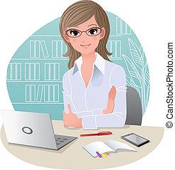 biuro, ładny, kobieta handlowa