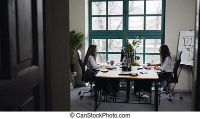 biuro., architekt, samica, pracujący