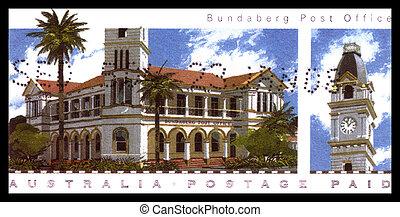 biuro, -, australia, circa, 2008, opisywanie, opłata pocztowa, australijski, bundaberg, tłoczyć, odwołany, :, poczta