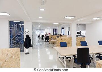 biuro, busines, wewnętrzny, startup, opróżniać