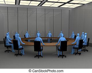 biuro, chwile, -, spotkanie pokój