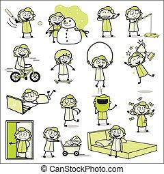biuro, dziewczyna, pojęcia, wektor, ilustracje, -, różny, zbiór