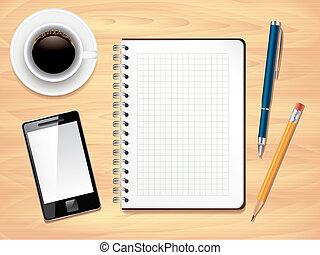 biuro, fotografia, górny, notatnik, realistyczny, wektor, biurko, prospekt