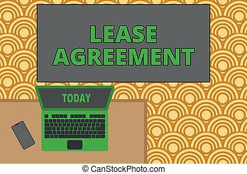biuro, fotografia, laptop, jeden, dzierżawa, zgadza się, pracujący, pisanie, nuta, partia, smartphone., dzierżawa, terminy, handlowy, pokaz, biurko, agreement., kontrakt, drewniany, miejsce, showcasing, posiadanie, leżący