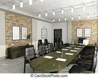 biuro, gabinet, dyrektor, wewnętrzny, meble, układy, 3d