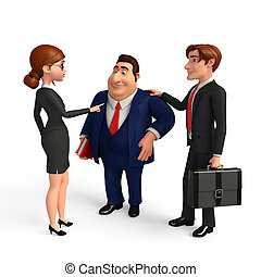 biuro., grupa, handlowy zaludniają