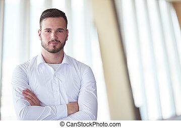 biuro, handlowy, broda, człowiek, nowoczesny