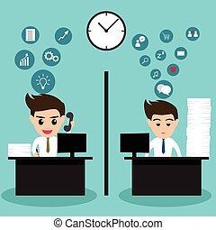 biuro., handlowy, czynny, tak samo, człowiek, leniwy
