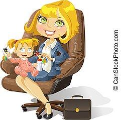 biuro, handlowy, mamusia, dziewczyna niemowlęcia, krzesło