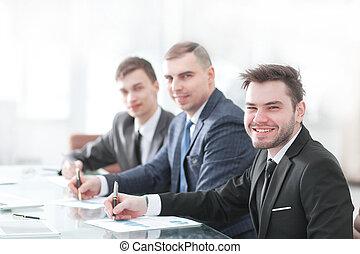 biuro, handlowy, posiedzenie, drużyna, biurko, profesjonalny