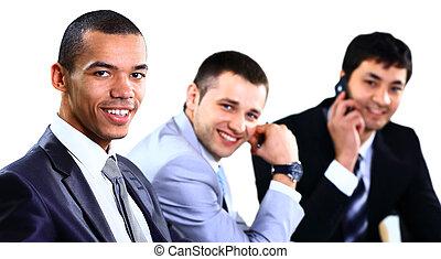 biuro, handlowy, posiedzenie, praca, trzy, planowanie, drużyna