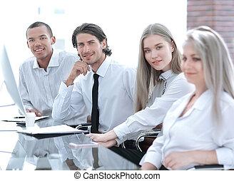 biuro., handlowy, przyjacielski, portret, drużyna
