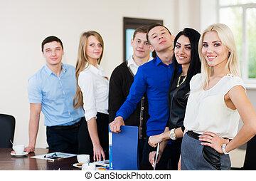 biuro, handlowy zaludniają, pomyślny, młody, drużyna