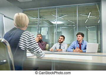 biuro, handlowy zaludniają, praca, plan, dyskutując