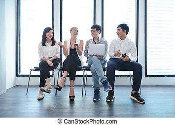 biuro, handlowy zaludniają, wpływy, inny, teamwork, każdy, międzynarodowy