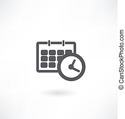 biuro, harmonogram, zegar, -, kalendarz, ikona