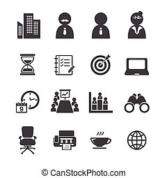biuro, ikona, komplet