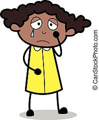 biuro, -, ilustracja, dramat, wektor, czarnoskóry, retro, emocjonalny, dziewczyna, rysunek